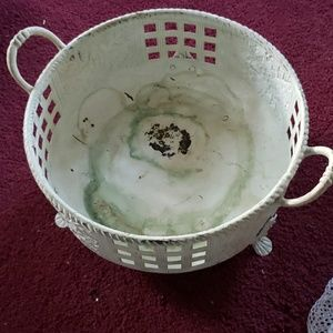 Vintage shabby chic painted metal basket
